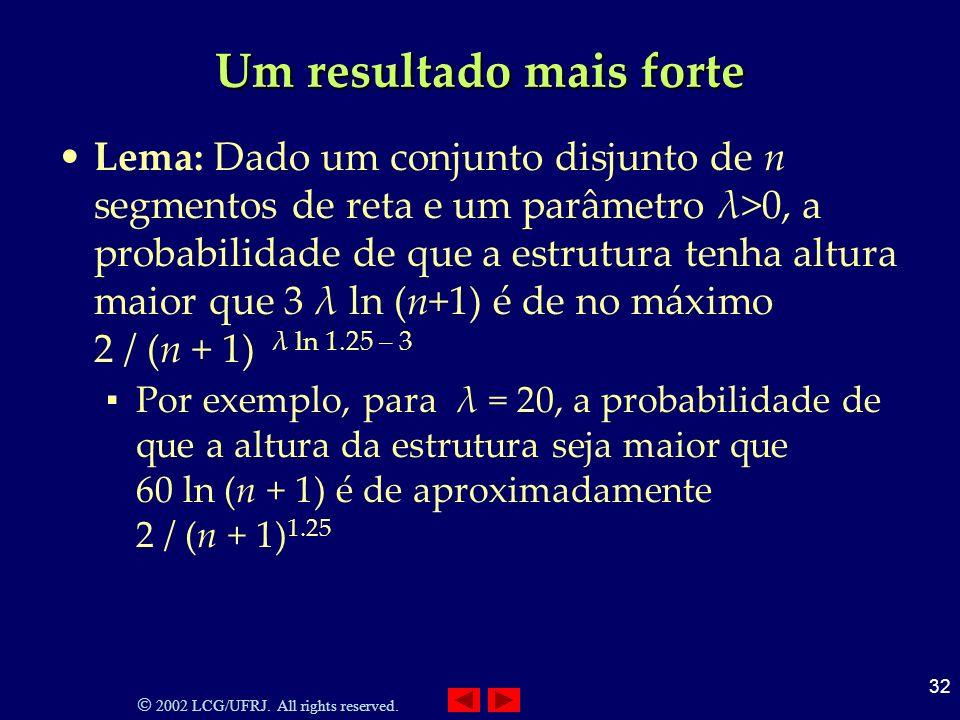 2002 LCG/UFRJ. All rights reserved. 32 Um resultado mais forte Lema: Dado um conjunto disjunto de n segmentos de reta e um parâmetro λ>0, a probabilid