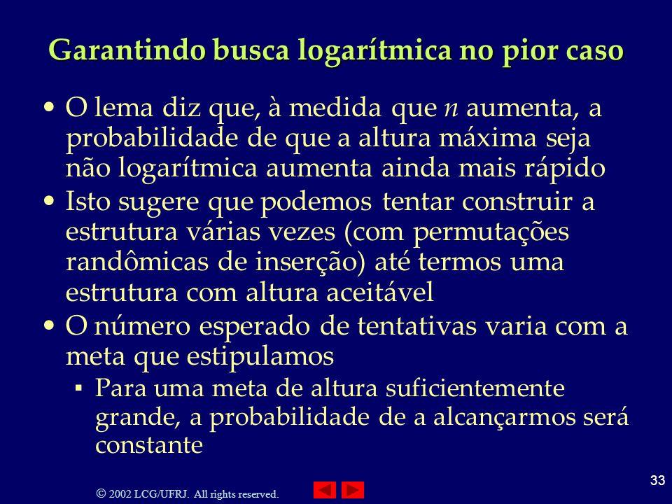 2002 LCG/UFRJ. All rights reserved. 33 Garantindo busca logarítmica no pior caso O lema diz que, à medida que n aumenta, a probabilidade de que a altu