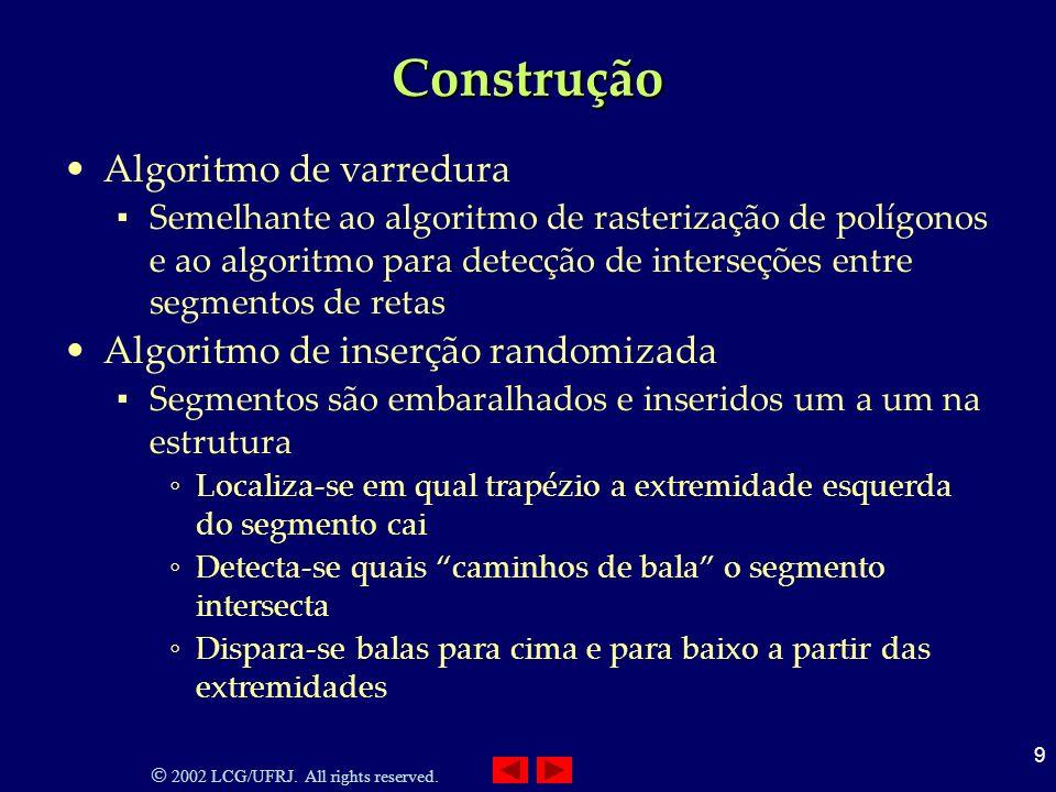 2002 LCG/UFRJ. All rights reserved. 9 Construção Algoritmo de varredura Semelhante ao algoritmo de rasterização de polígonos e ao algoritmo para detec