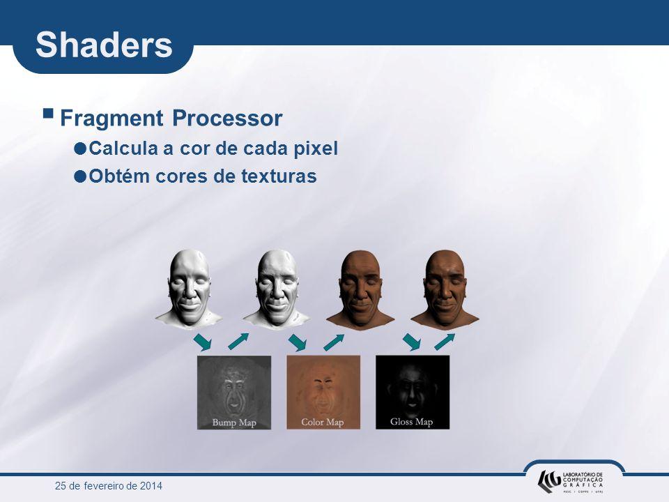 25 de fevereiro de 2014 Shaders Fragment Processor Calcula a cor de cada pixel Obtém cores de texturas