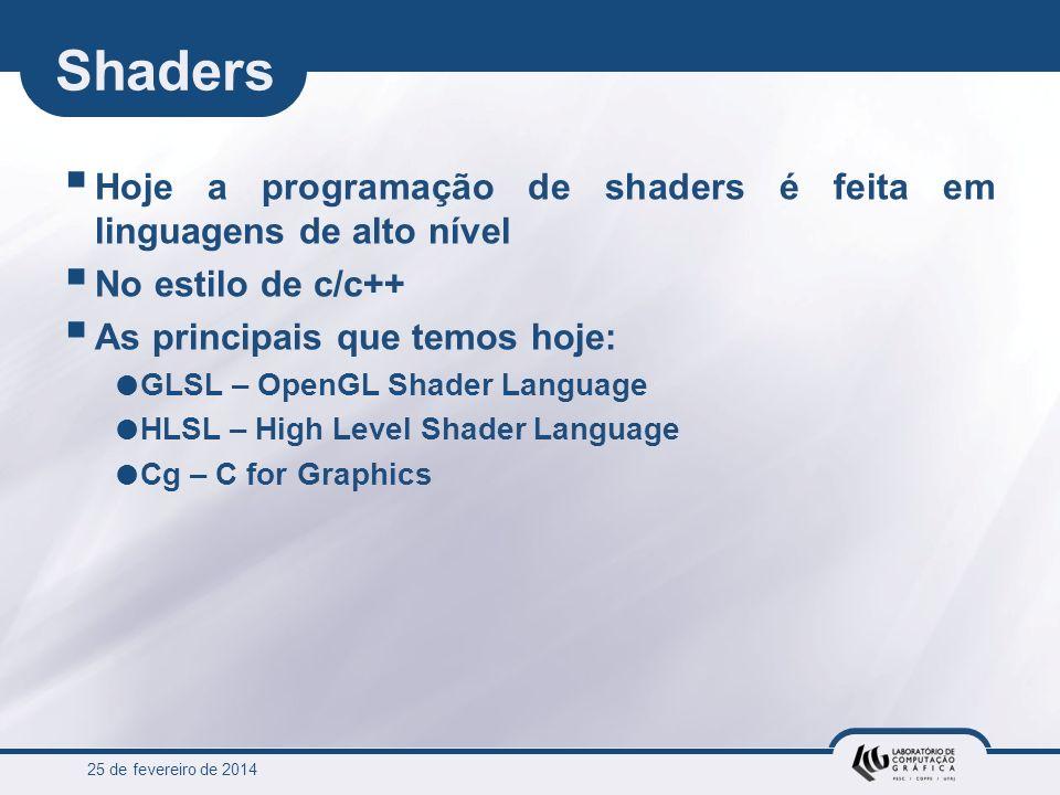 25 de fevereiro de 2014 Shaders Hoje a programação de shaders é feita em linguagens de alto nível No estilo de c/c++ As principais que temos hoje: GLS