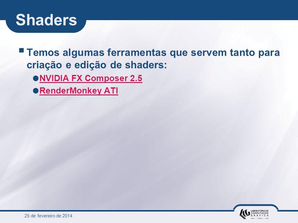 25 de fevereiro de 2014 Shaders Temos algumas ferramentas que servem tanto para criação e edição de shaders: NVIDIA FX Composer 2.5 NVIDIA FX Composer