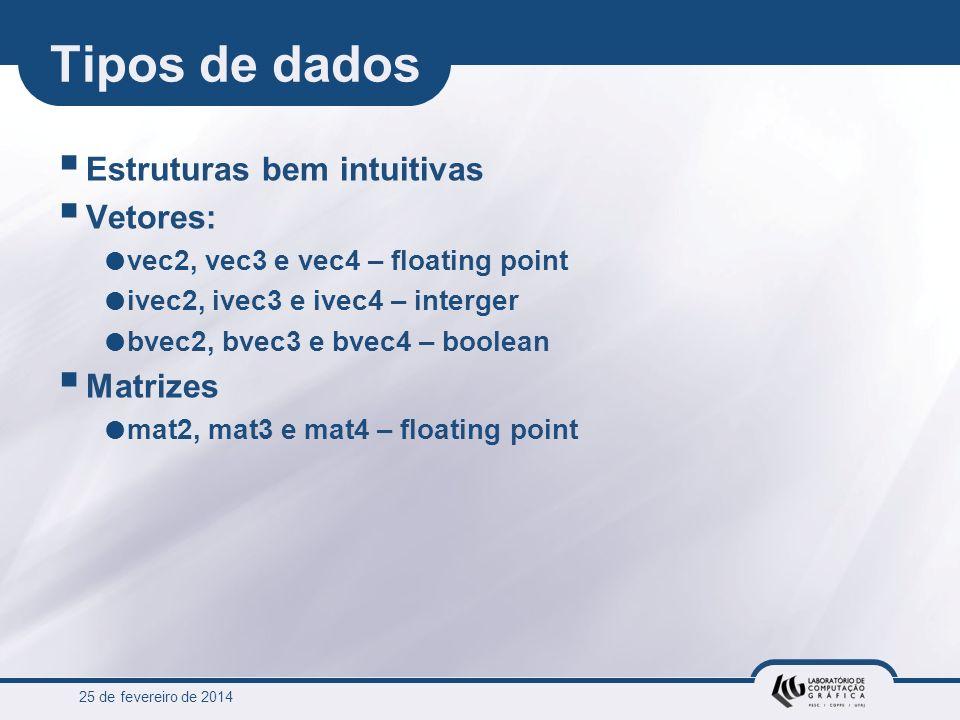 25 de fevereiro de 2014 Tipos de dados Estruturas bem intuitivas Vetores: vec2, vec3 e vec4 – floating point ivec2, ivec3 e ivec4 – interger bvec2, bv