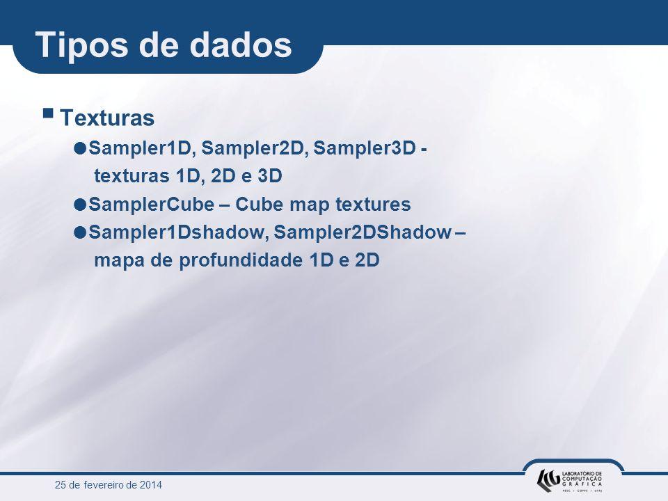 25 de fevereiro de 2014 Tipos de dados Texturas Sampler1D, Sampler2D, Sampler3D - texturas 1D, 2D e 3D SamplerCube – Cube map textures Sampler1Dshadow