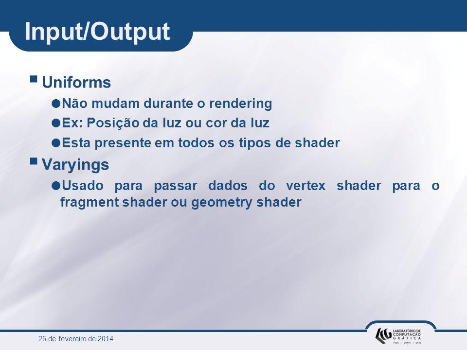25 de fevereiro de 2014 Input/Output Uniforms Não mudam durante o rendering Ex: Posição da luz ou cor da luz Esta presente em todos os tipos de shader