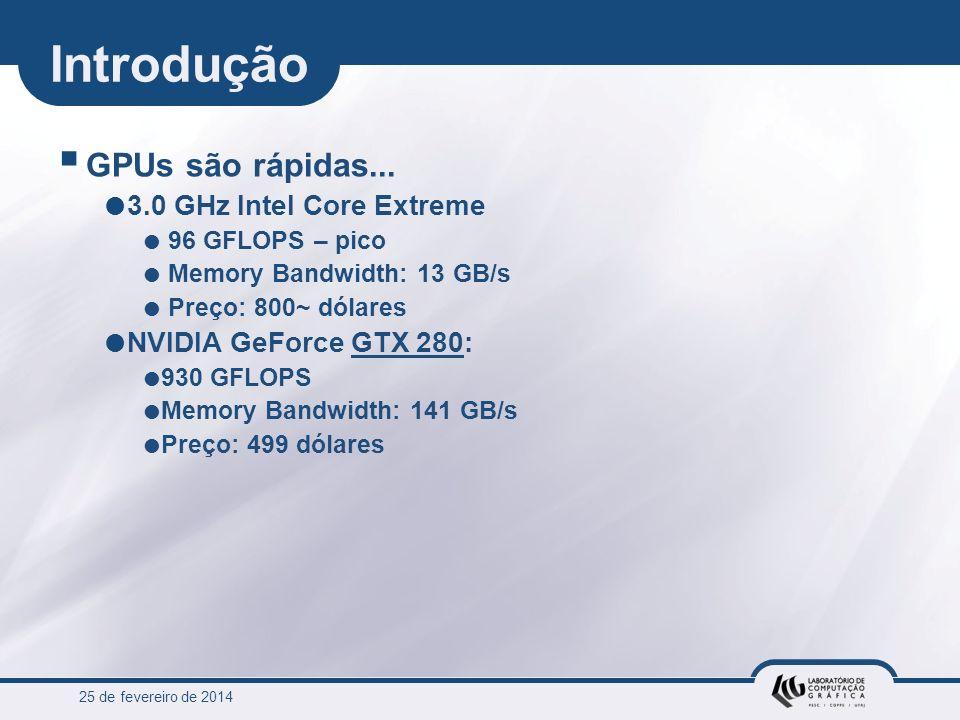 25 de fevereiro de 2014 Introdução GPUs são rápidas... 3.0 GHz Intel Core Extreme 96 GFLOPS – pico Memory Bandwidth: 13 GB/s Preço: 800~ dólares NVIDI