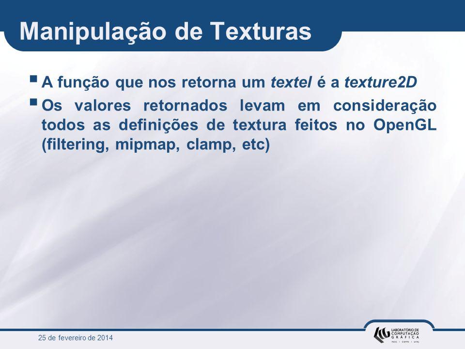 25 de fevereiro de 2014 Manipulação de Texturas A função que nos retorna um textel é a texture2D Os valores retornados levam em consideração todos as