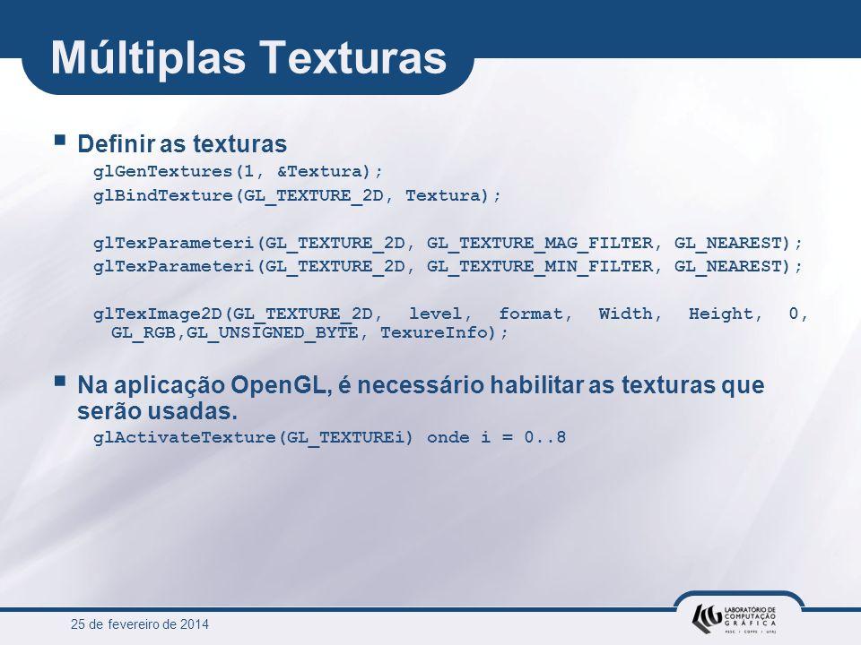25 de fevereiro de 2014 Múltiplas Texturas Definir as texturas glGenTextures(1, &Textura); glBindTexture(GL_TEXTURE_2D, Textura); glTexParameteri(GL_T