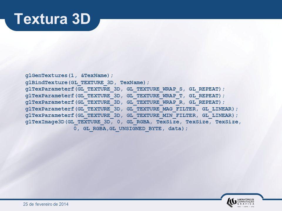 25 de fevereiro de 2014 Textura 3D glGenTextures(1, &TexName); glBindTexture(GL_TEXTURE_3D, TexName); glTexParameterf(GL_TEXTURE_3D, GL_TEXTURE_WRAP_S