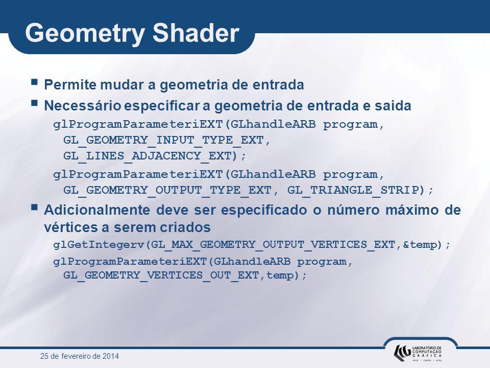 25 de fevereiro de 2014 Geometry Shader Permite mudar a geometria de entrada Necessário especificar a geometria de entrada e saida glProgramParameteri