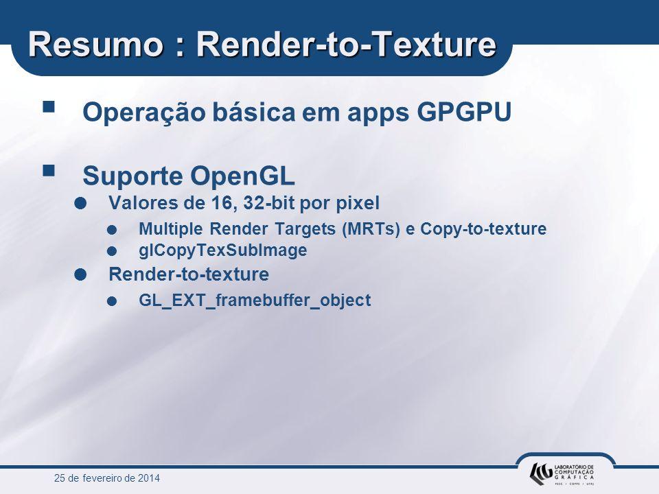 25 de fevereiro de 2014 Resumo : Render-to-Texture Operação básica em apps GPGPU Suporte OpenGL Valores de 16, 32-bit por pixel Multiple Render Target