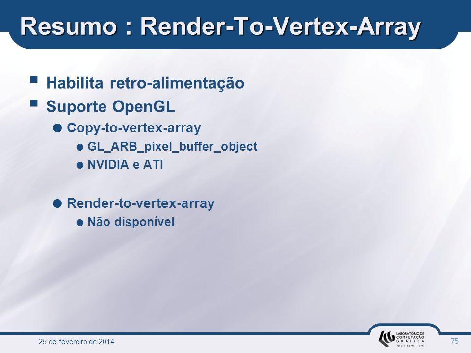 25 de fevereiro de 2014 75 Resumo : Render-To-Vertex-Array Habilita retro-alimentação Suporte OpenGL Copy-to-vertex-array GL_ARB_pixel_buffer_object N