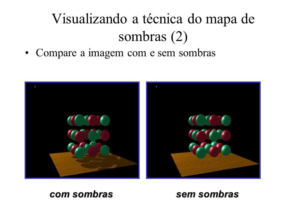 Visualizando a técnica do mapa de sombras (2) Compare a imagem com e sem sombras com sombras sem sombras