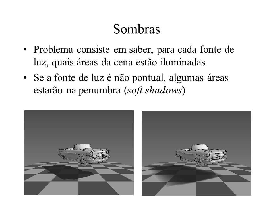 Sombras Problema consiste em saber, para cada fonte de luz, quais áreas da cena estão iluminadas Se a fonte de luz é não pontual, algumas áreas estarã