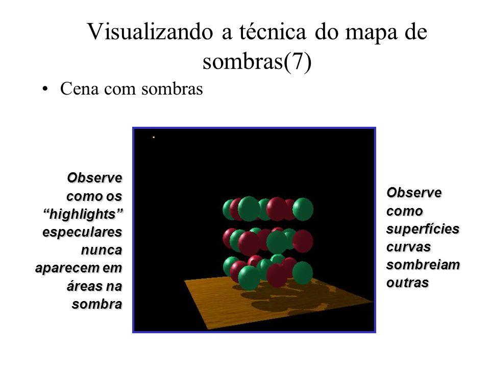 Visualizando a técnica do mapa de sombras(7) Cena com sombras Observe como os highlights especulares nunca aparecem em áreas na sombra Observe como su