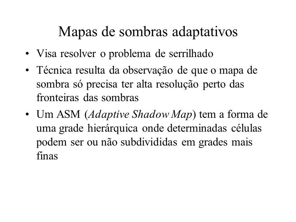Mapas de sombras adaptativos Visa resolver o problema de serrilhado Técnica resulta da observação de que o mapa de sombra só precisa ter alta resoluçã