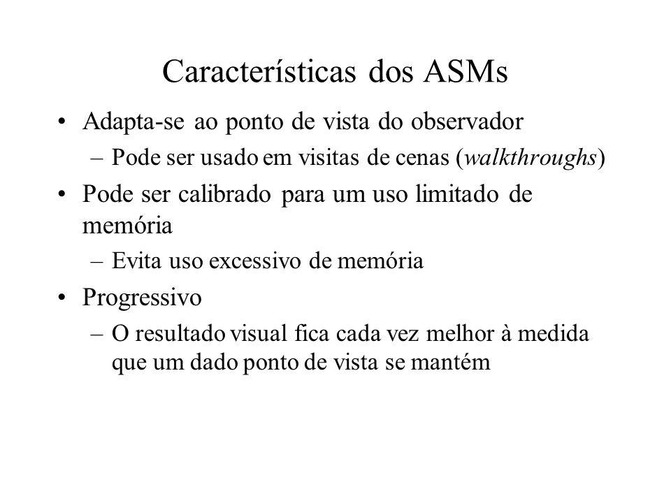 Características dos ASMs Adapta-se ao ponto de vista do observador –Pode ser usado em visitas de cenas (walkthroughs) Pode ser calibrado para um uso l