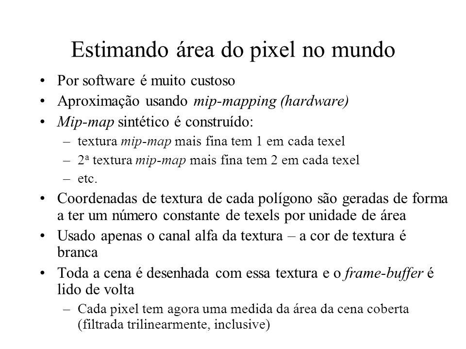 Estimando área do pixel no mundo Por software é muito custoso Aproximação usando mip-mapping (hardware) Mip-map sintético é construído: –textura mip-m