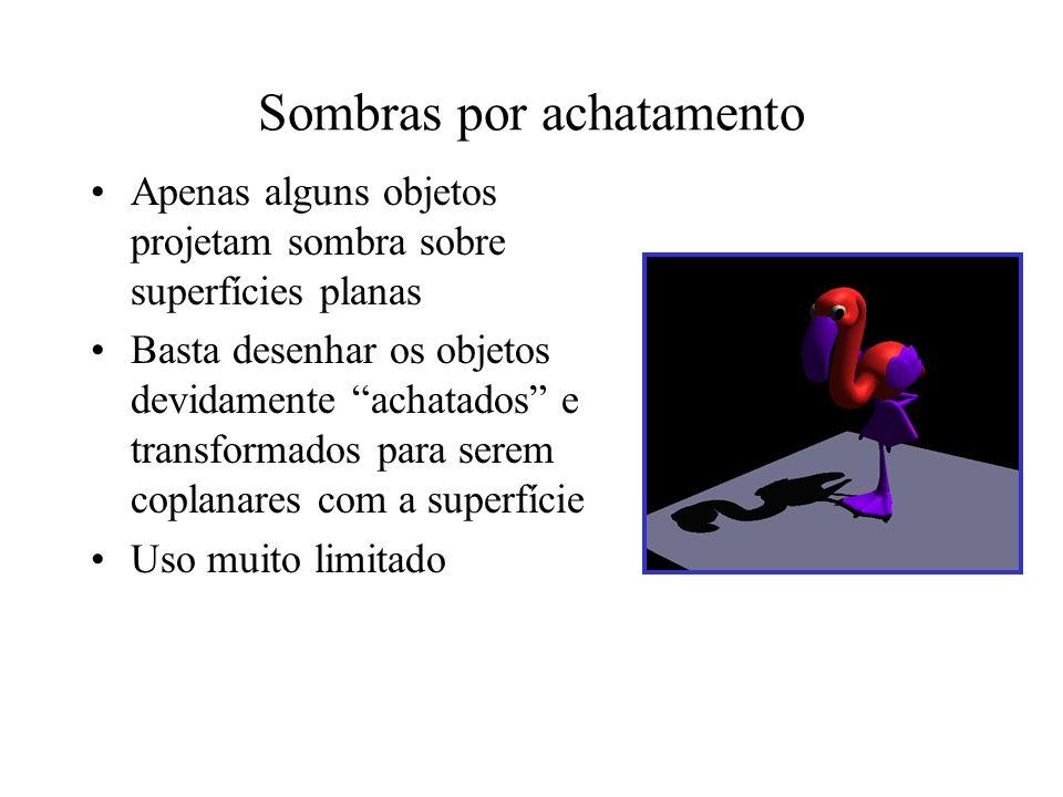 Mapas de luz Usados em jogos Iluminação é precomputada (radiosidade / ray- tracing) e valores de luminosidade atribuídos a texturas adicionais Inadequado quando luz ou objeto se movem