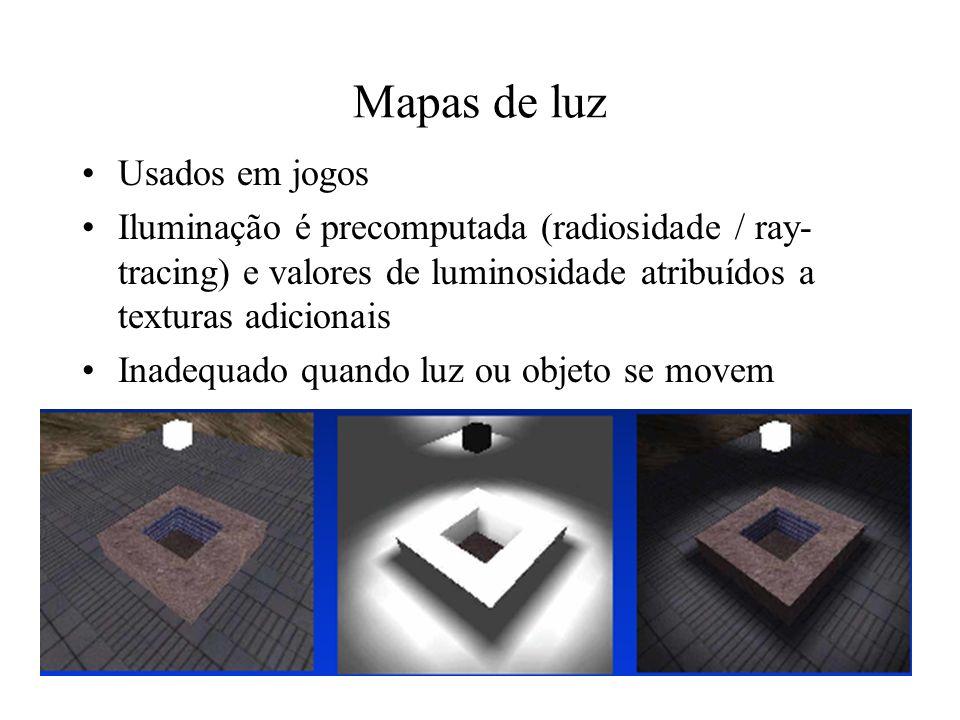Volumes de sombra Região sombreada é aproximada por um volume poliedral em etapa de pré-processamento –Computa-se a silhueta do oclusor –Cada aresta da silhueta gera um polígono Cena é desenhada com o auxílio de z-buffers e stencil buffers