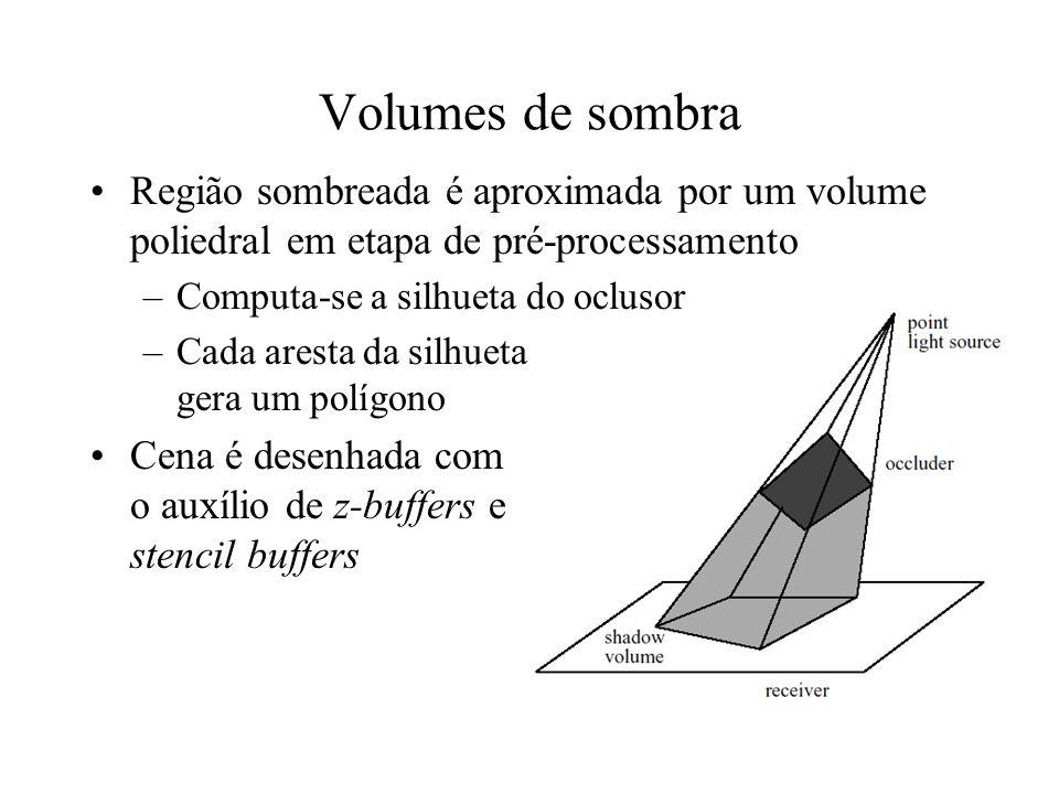 Volumes de sombra - algoritmo Geometria é desenhada sem a contribuição da fonte de luz pontual Stencil Buffer é zerado Faces da frente do volume de sombra são desenhadas incrementando o stencil buffer Faces de trás do volume de sombra são desenhadas decrementando o stencil buffer Contribuição da fonte de luz sobre a geometria é somada apenas nas áreas onde o stencil buffer é maior que zero