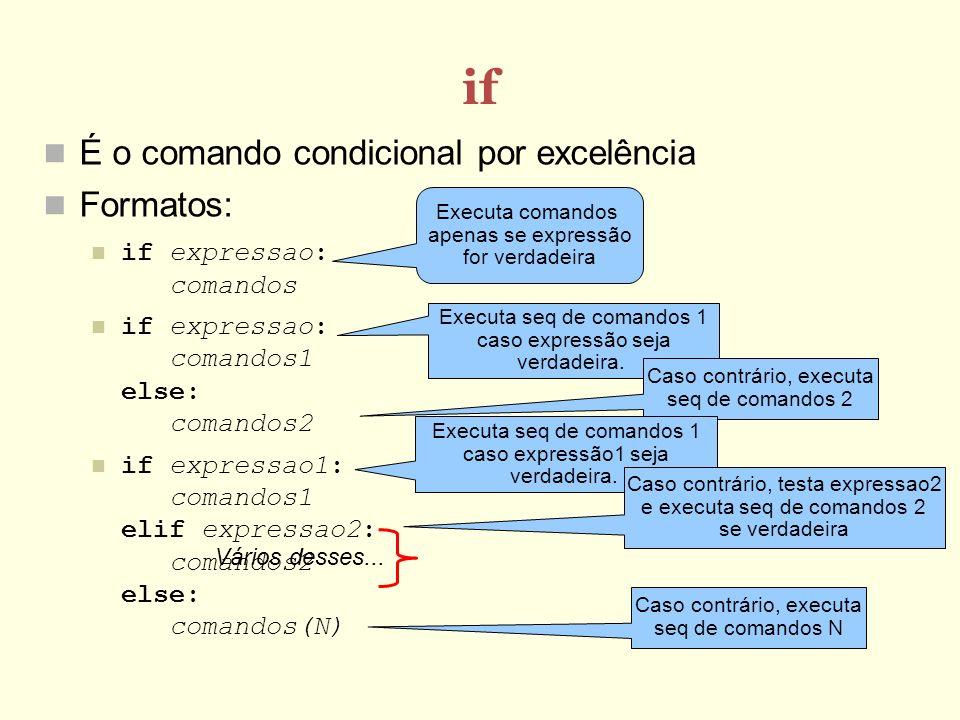 if É o comando condicional por excelência Formatos: if expressao: comandos if expressao: comandos1 else: comandos2 if expressao1: comandos1 elif expressao2: comandos2 else: comandos(N) Vários desses...