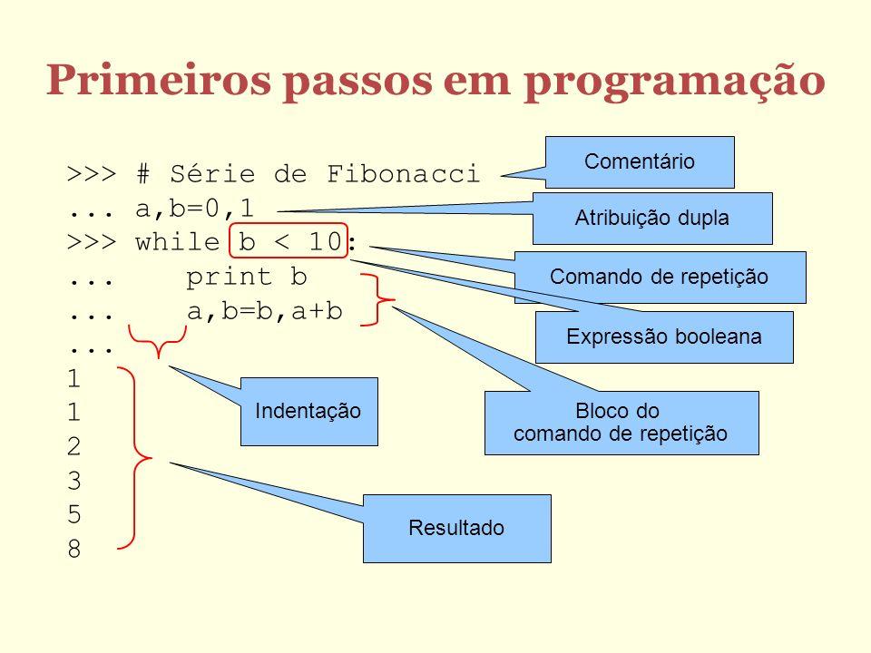 Primeiros passos em programação >>> # Série de Fibonacci...