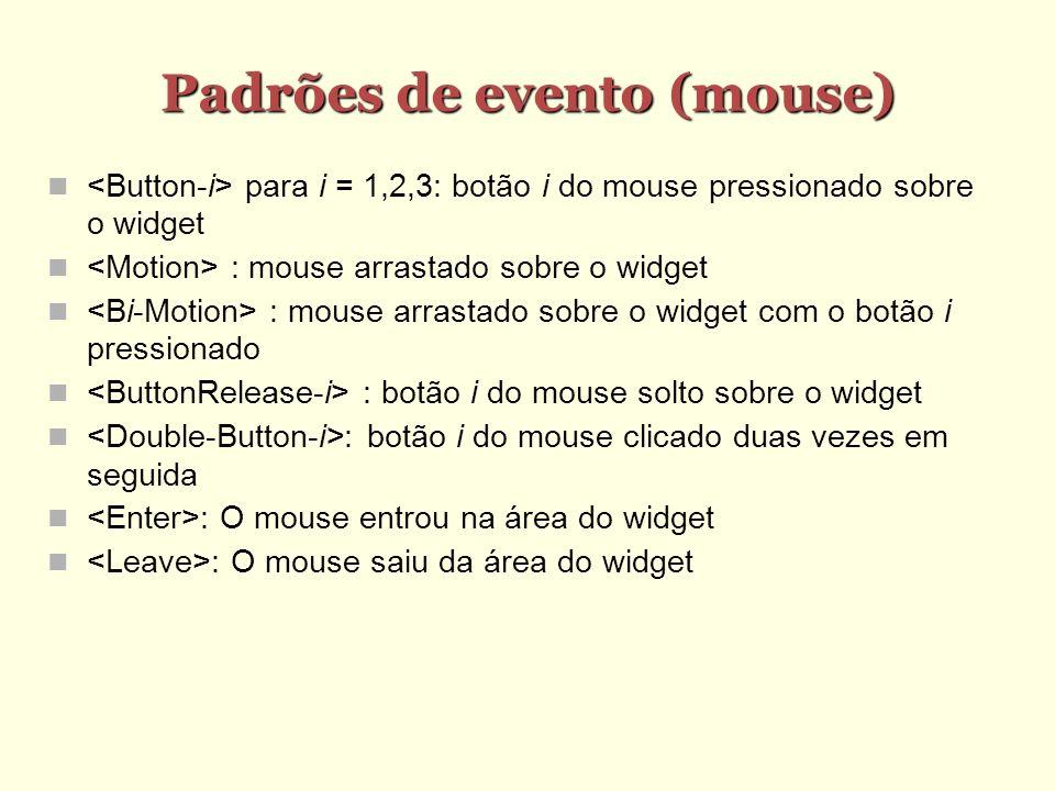 Padrões de evento (mouse) Padrões de evento (mouse) para i = 1,2,3: botão i do mouse pressionado sobre o widget : mouse arrastado sobre o widget : mouse arrastado sobre o widget com o botão i pressionado : botão i do mouse solto sobre o widget : botão i do mouse clicado duas vezes em seguida : O mouse entrou na área do widget : O mouse saiu da área do widget