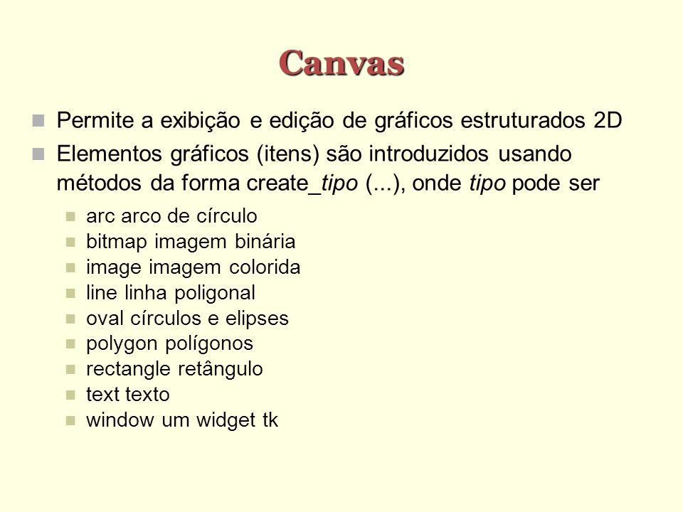 Canvas Permite a exibição e edição de gráficos estruturados 2D Elementos gráficos (itens) são introduzidos usando métodos da forma create_tipo (...),