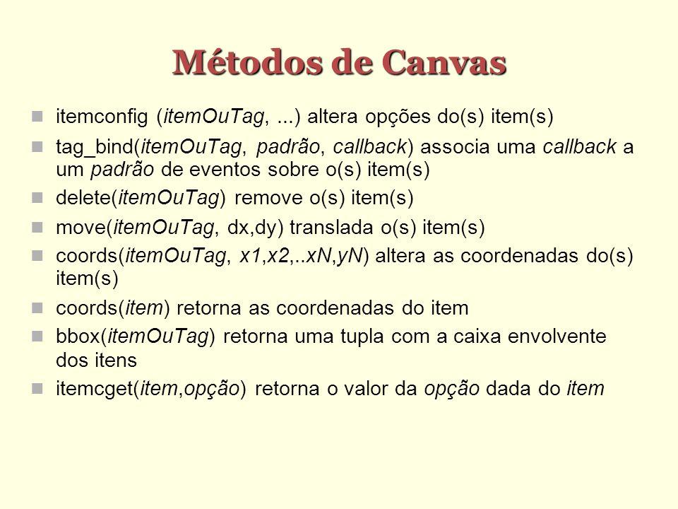 Métodos de Canvas itemconfig (itemOuTag,...) altera opções do(s) item(s) tag_bind(itemOuTag, padrão, callback) associa uma callback a um padrão de eventos sobre o(s) item(s) delete(itemOuTag) remove o(s) item(s) move(itemOuTag, dx,dy) translada o(s) item(s) coords(itemOuTag, x1,x2,..xN,yN) altera as coordenadas do(s) item(s) coords(item) retorna as coordenadas do item bbox(itemOuTag) retorna uma tupla com a caixa envolvente dos itens itemcget(item,opção) retorna o valor da opção dada do item