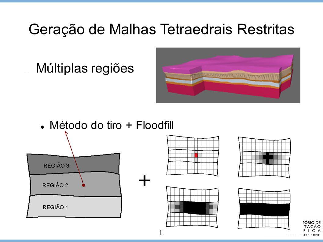 12 Geração de Malhas Tetraedrais Restritas + Múltiplas regiões Método do tiro + Floodfill