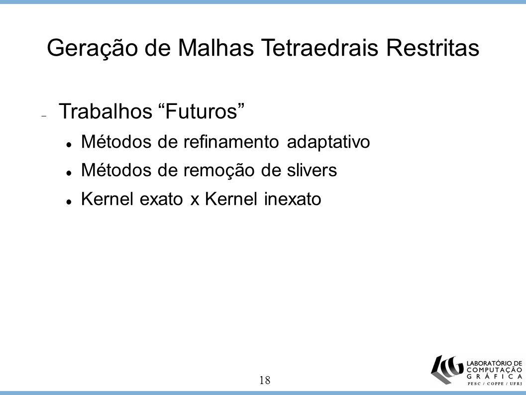 18 Geração de Malhas Tetraedrais Restritas Trabalhos Futuros Métodos de refinamento adaptativo Métodos de remoção de slivers Kernel exato x Kernel ine