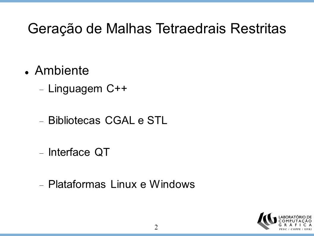 2 Ambiente Linguagem C++ Bibliotecas CGAL e STL Interface QT Plataformas Linux e Windows Geração de Malhas Tetraedrais Restritas