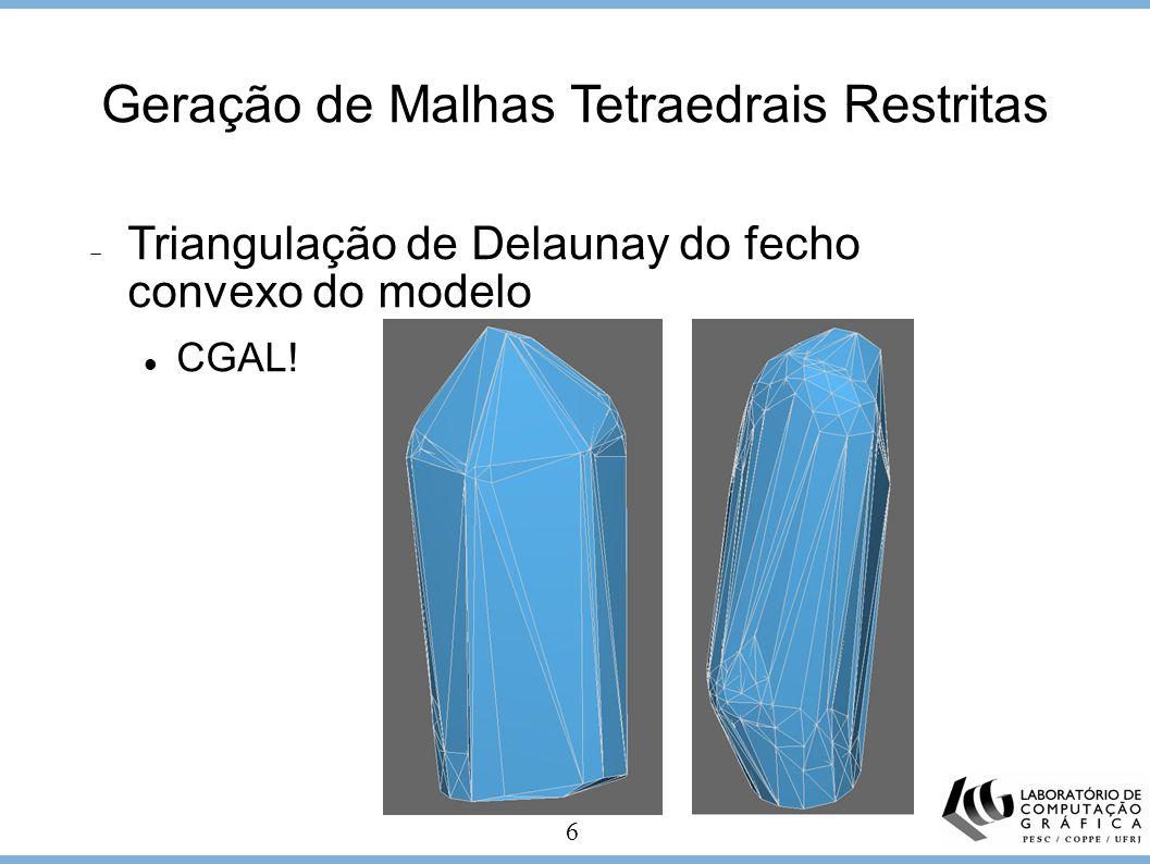 6 Geração de Malhas Tetraedrais Restritas Triangulação de Delaunay do fecho convexo do modelo CGAL!