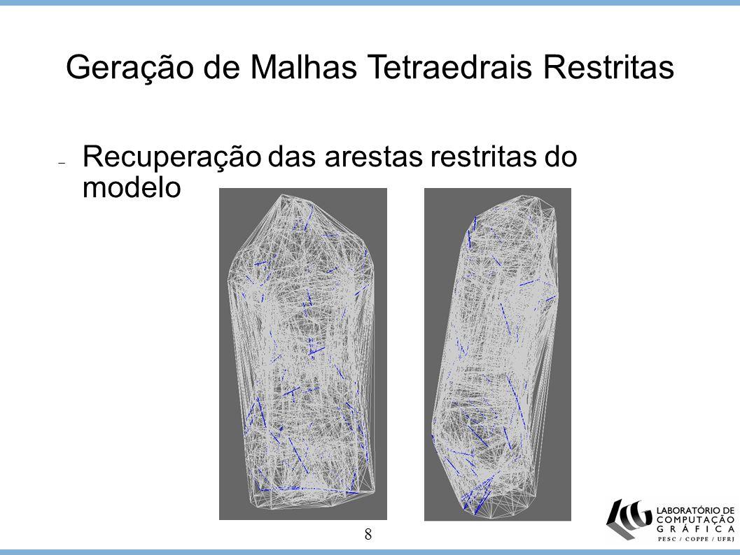 8 Geração de Malhas Tetraedrais Restritas Recuperação das arestas restritas do modelo