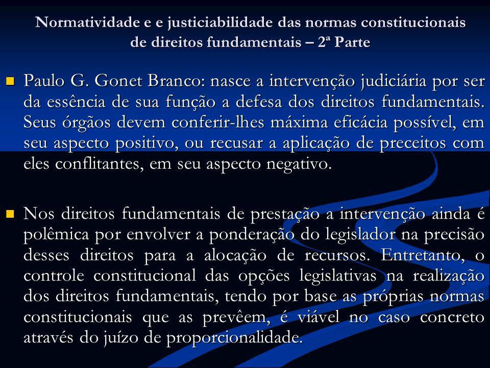 Normatividade e e justiciabilidade das normas constitucionais de direitos fundamentais – 2ª Parte Paulo G. Gonet Branco: nasce a intervenção judiciári