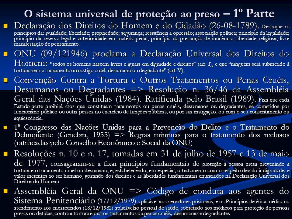 O sistema universal de proteção ao preso – 1º Parte Declaração dos Direitos do Homem e do Cidadão (26-08-1789). Destaque: os princípios da: igualdade;