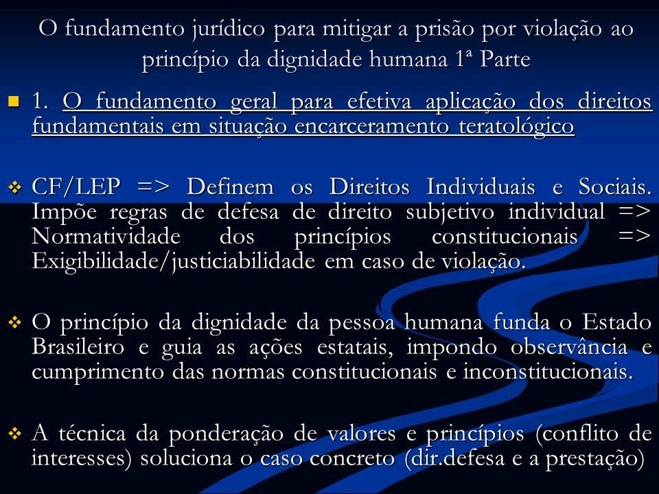 O fundamento jurídico para mitigar a prisão por violação ao princípio da dignidade humana 1ª Parte 1. O fundamento geral para efetiva aplicação dos di