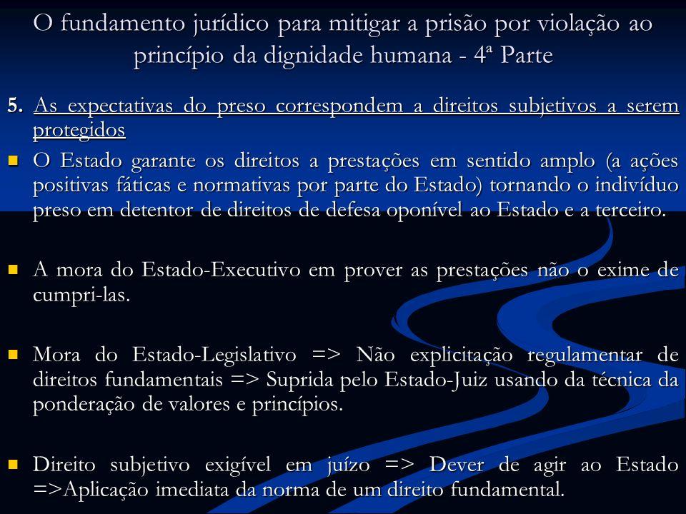 O fundamento jurídico para mitigar a prisão por violação ao princípio da dignidade humana - 4ª Parte 5. As expectativas do preso correspondem a direit