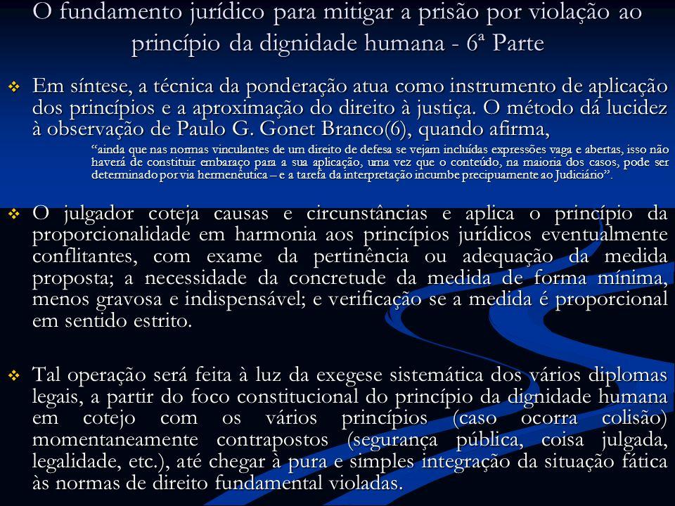 O fundamento jurídico para mitigar a prisão por violação ao princípio da dignidade humana - 6ª Parte Em síntese, a técnica da ponderação atua como ins