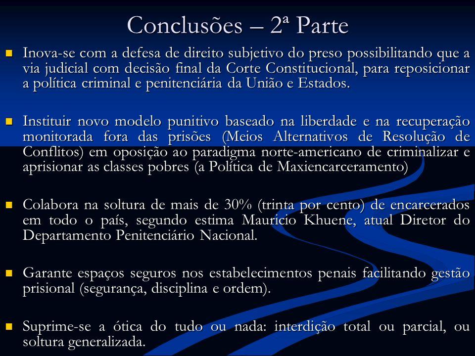 Conclusões – 2ª Parte Inova-se com a defesa de direito subjetivo do preso possibilitando que a via judicial com decisão final da Corte Constitucional,