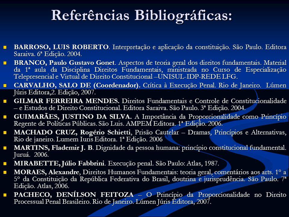 Referências Bibliográficas: BARROSO, LUIS ROBERTO. Interpretação e aplicação da constituição. São Paulo. Editora Saraiva. 6ª Edição. 2004. BARROSO, LU