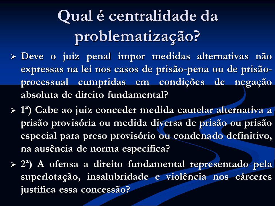 Qual é centralidade da problematização? Deve o juiz penal impor medidas alternativas não expressas na lei nos casos de prisão-pena ou de prisão- proce