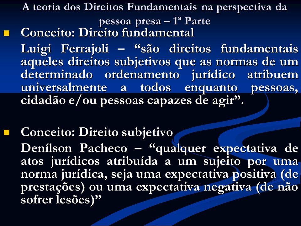 A teoria dos Direitos Fundamentais na perspectiva da pessoa presa – 1ª Parte Conceito: Direito fundamental Conceito: Direito fundamental Luigi Ferrajo