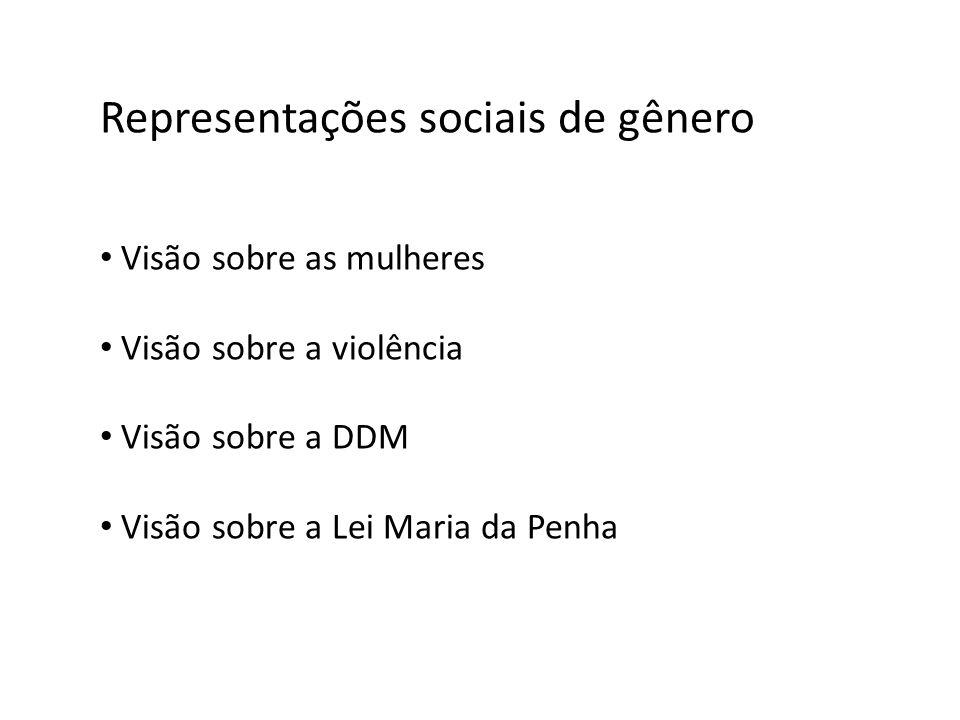 Representações sociais de gênero Visão sobre as mulheres Visão sobre a violência Visão sobre a DDM Visão sobre a Lei Maria da Penha