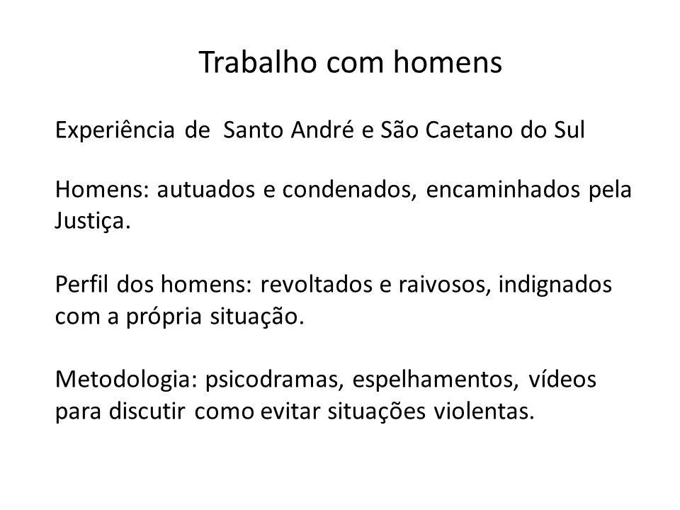 Trabalho com homens Experiência de Santo André e São Caetano do Sul Homens: autuados e condenados, encaminhados pela Justiça. Perfil dos homens: revol