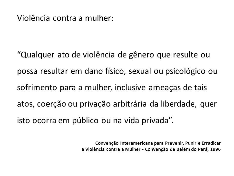 Violência contra a mulher: Qualquer ato de violência de gênero que resulte ou possa resultar em dano físico, sexual ou psicológico ou sofrimento para