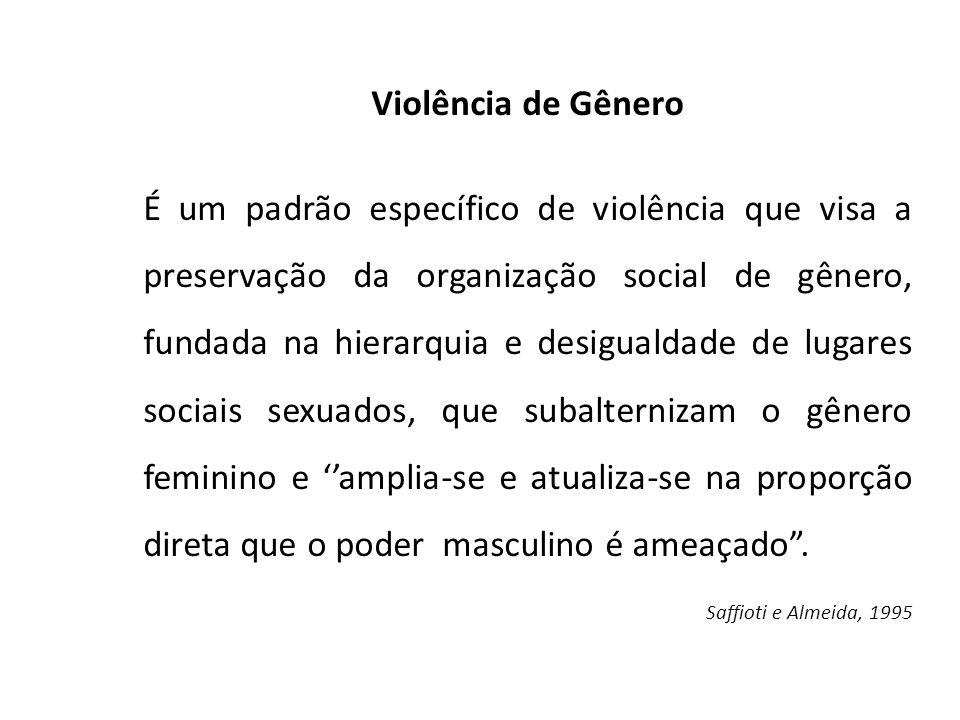 Violência de Gênero É um padrão específico de violência que visa a preservação da organização social de gênero, fundada na hierarquia e desigualdade d