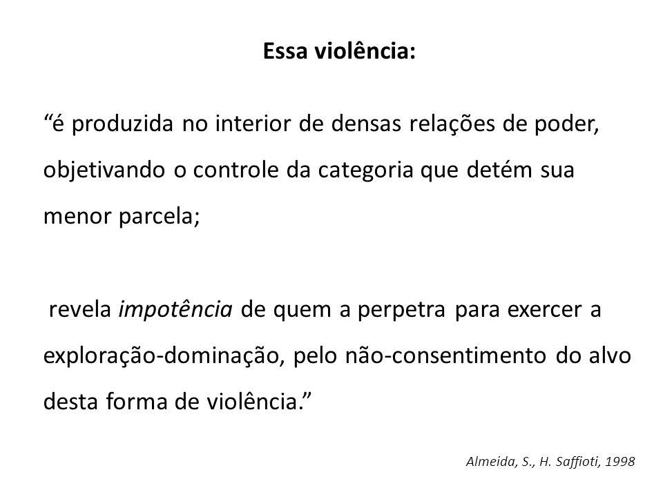 Essa violência: é produzida no interior de densas relações de poder, objetivando o controle da categoria que detém sua menor parcela; revela impotênci