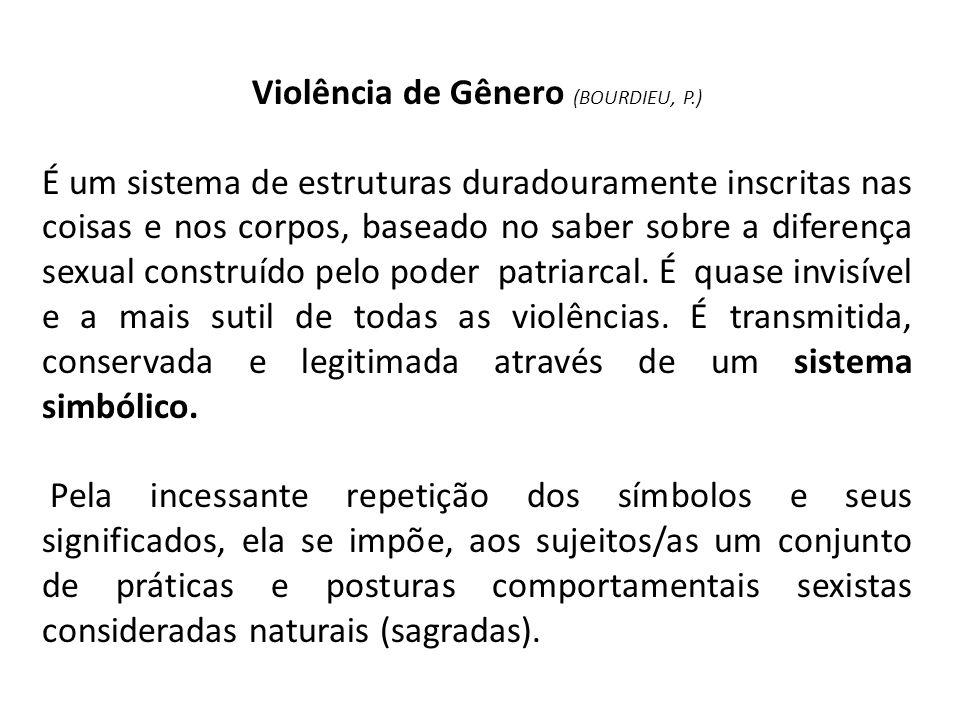 Violência de Gênero (BOURDIEU, P.) É um sistema de estruturas duradouramente inscritas nas coisas e nos corpos, baseado no saber sobre a diferença sex